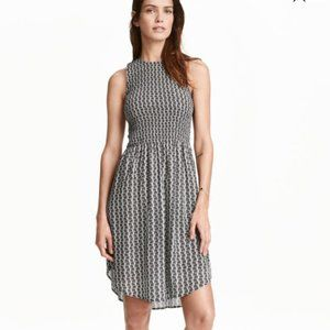 Dex Black and White Patterned Midi Dress